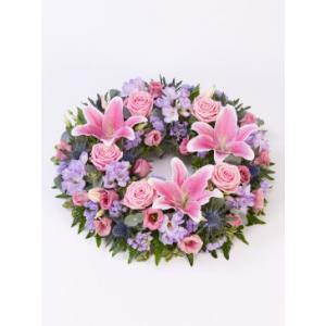 large rose and lily wreath
