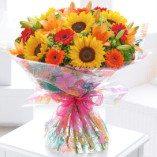Extra Large Seasonal Splendour Sunflower and Lily Hand-tied