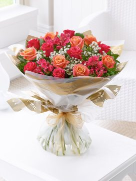 Extra Large Summer Sunset Rose and Alstroemeria Hand-tied